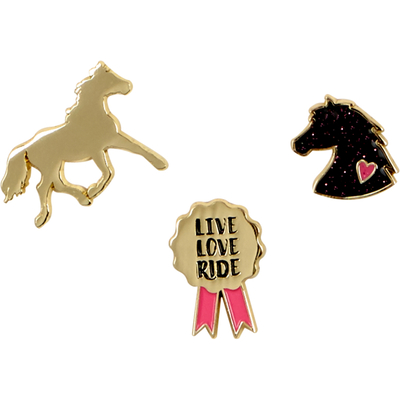 Pins I LOVE HORSES (vergoldet)